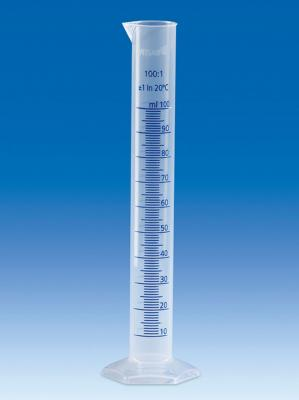 Vitlab 648081 Measuring Cylinder PP Class B Vol 50 ml with Blue Scale