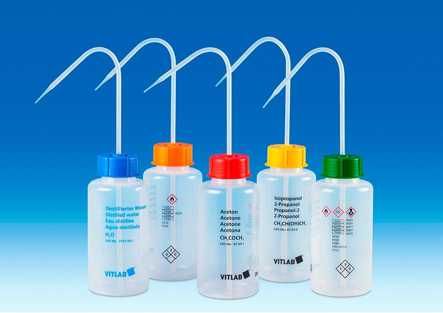 Vitlab 1352819 VITsafe™ safety wash bottles Vol 500 ml for Distilled Water